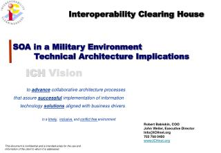 SOA in a Military Environment         Technical Architecture Implications