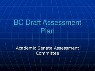 BC Draft Assessment Plan