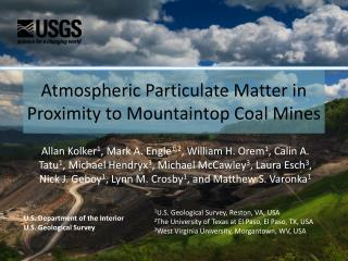 Atmospheric Particulate Matter in Proximity to Mountaintop Coal Mines