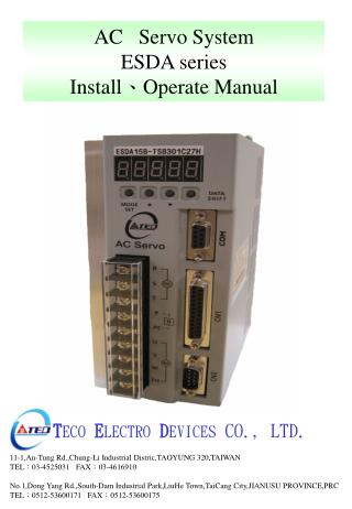 AC   Servo System ESDA series Install ? Operate Manual