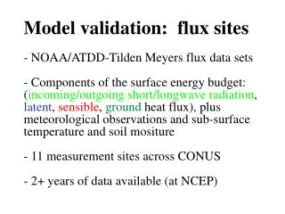 Model validation:  flux sites
