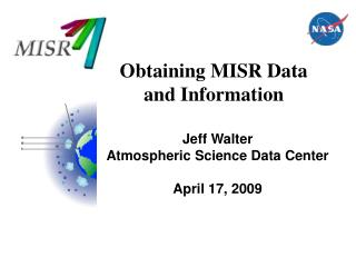 Obtaining MISR Data and Information