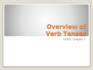 Overview of  Verb Tenses