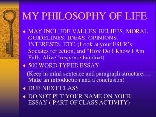 philosophy of life essay introduction Introduction to objectivism ayn rand has inspired individuals around the world to discard convention and pursue a better life see for yourself what her philosophy is.