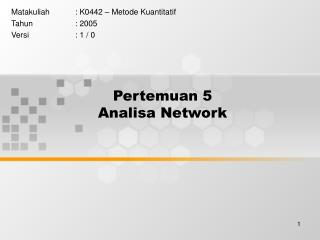 Pertemuan 5 Analisa Network