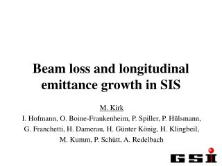 Beam loss and longitudinal emittance growth in SIS