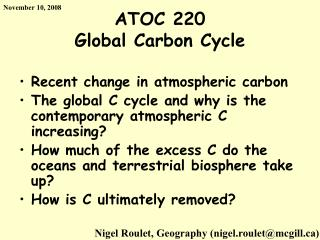 ATOC 220 Global Carbon Cycle
