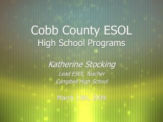Cobb County ESOL High School Programs