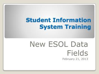 Student Information System Training