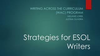 Strategies for  ESOL Writers