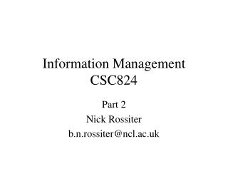 Information Management CSC824