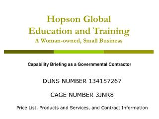 Hopson Global Education and Training  A Woman-owned, Small Business