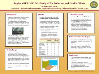 Regional PA, WV, OH Study of Air Pollution and Health Effects  Judith Rager, MPH University of Pittsburgh Academic Cente