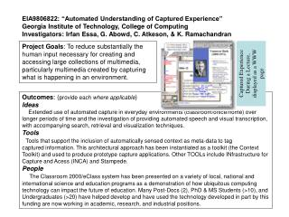 "EIA9806822: ""Automated Understanding of Captured Experience"""