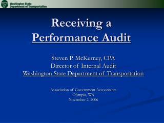 Receiving a Performance Audit