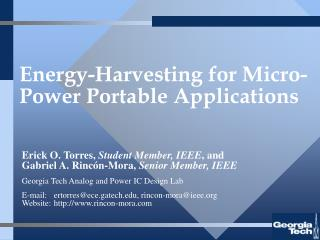 Energy-Harvesting for Micro-Power Portable Applications