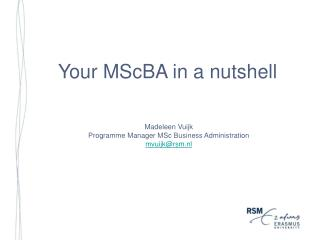 Your MScBA in a nutshell