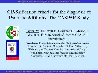 C l AS sification criteria for the diagnosis of  P soriatic  AR thritis: The CASPAR Study