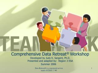 Comprehensive Data Retreat  Workshop Developed by Judy K. Sargent, Ph.D. Presented and adapted by:  Region 3 ESA