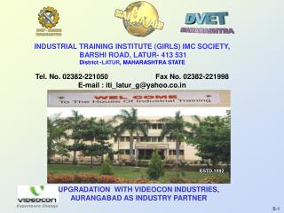 INDUSTRIAL TRAINING INSTITUTE (GIRLS) IMC SOCIETY,  BARSHI ROAD, LATUR- 413 531