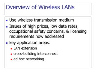 Overview of Wireless LANs