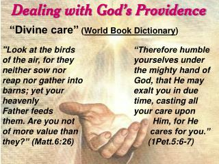 Dealing with God's Providence