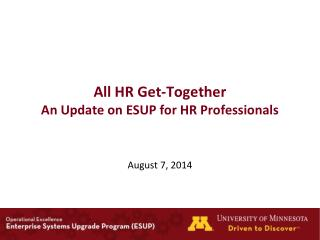 All HR  Get-Together An  Update on ESUP for HR Professionals