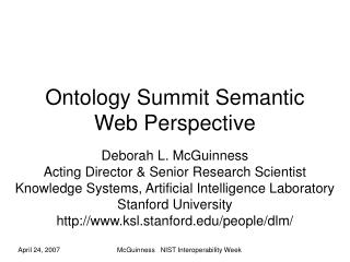 Ontology Summit Semantic Web Perspective