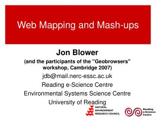 Web Mapping and Mash-ups