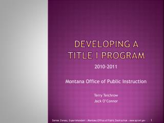 Developing a Title I Program