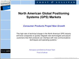 North American Global Positioning Systems (GPS) Markets Consumer Products Propel New Growth