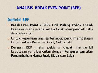 ANALISIS  BREAK EVEN POINT (BEP)