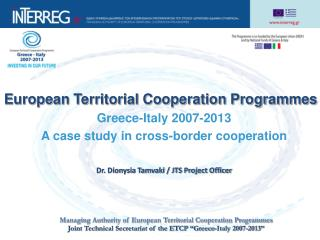 European Territorial Cooperation Programmes Greece-Italy 2007-2013