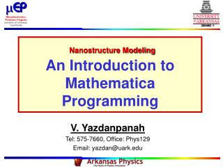 Nanostructure Modeling An Introduction to Mathematica Programming