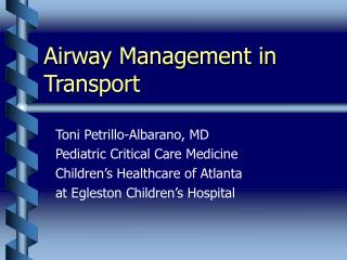 Airway Management in Transport