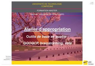 Atelier d'appropriation O utils de base en qualité : QQOQCP, brainstorming, vote
