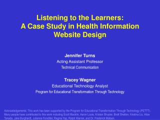 Listening to the Learners: A Case Study in Health Information Website Design