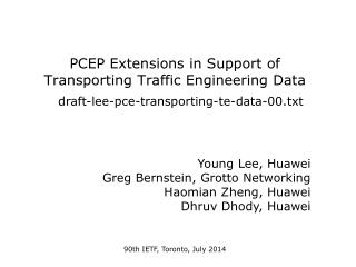 PCEP Extensions in Support of Transporting Traffic Engineering Data