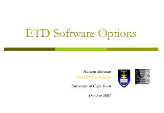 ETD Software Options
