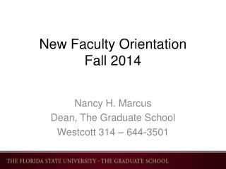 New  F aculty Orientation Fall 2014