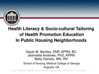 Health Literacy & Socio-cultural Tailoring  of Health Promotion Education