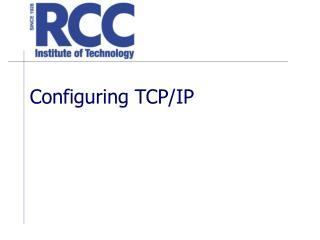 Configuring TCP/IP