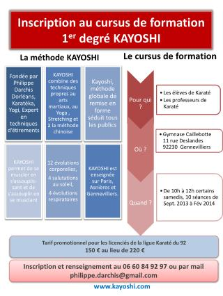 Inscription au cursus de formation 1 er  degré KAYOSHI