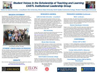 Student Voices in the Scholarship of Teaching and Learning CASTL Institutional Leadership Group