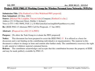 Project: IEEE P802.15 Working Group for Wireless Personal Area Networks (WPANs) Submission Title:  [ The ParthusCeva Ult