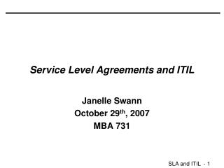 Service Level Agreements and ITIL