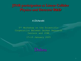 JINR participation at Linear Collider  Physics and Detector R&D