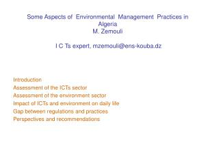 Introduction Assessment of the ICTs sector Assessment of the environment sector