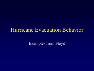 Hurricane Evacuation Behavior