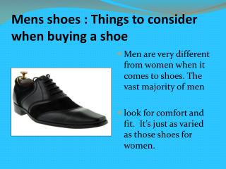 Men's shoes : Things to consider when buying a shoe